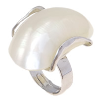 Shell Finger Ring, Freshwater Shell, with Brass, Bean, platinum color plated, 20x31x30mm, Size:6.5, Sold By PC