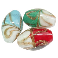 Gold Sand Lampwork Beads, Oval, handmade, more colors for choice, 12x18mm, Hole:Approx 2mm, Sold By PC