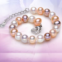 Freshwater Pearl Bracelet, sterling silver lobster clasp, with 4cm extender chain, Potato, natural, multi-colored, AAA Grade, 7.5-8.5mm, Sold Per Approx 7 Inch Strand