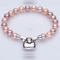 Freshwater Pearl Bracelet, sterling silver foldover clasp, Round, natural, multi-colored, AA Grade, 7.5-8.5mm, Sold Per Approx 7 Inch Strand
