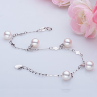 Freshwater Pearl Bracelet, with 925 Sterling Silver, with 4cm extender chain, Round, natural, bar chain, white, AAA Grade, 7-7.5mm, Sold Per Approx 7 Inch Strand