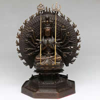 Brass Avalokitesvara Craft, antique copper color plated, Buddhist jewelry, lead & cadmium free, 165x165x260mm, Sold By PC