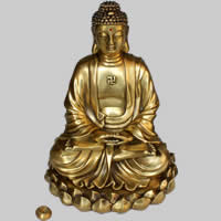 Brass Decoration, Buddha, antique gold color plated, Buddhist jewelry & with rhinestone, lead & cadmium free, 200x195x250mm, Sold By PC