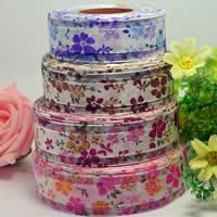 Organza Ribbon, with Satin Ribbon, printing, different size for choice & Customized & single-sided, mixed colors, 4PCs/Lot, 50Yards/PC, Sold By Lot