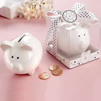 Money Box, Porcelain, Pig, white, 85x65x65mm, Sold By PC