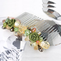 Decorative Hair Combs, Austrian Crystal, with coral & Crystal Thread & Citrine & Zinc Alloy, platinum color plated, faceted, multi-colored, Sold By PC