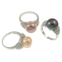 Cultured Freshwater Pearl Finger Ring, Brass, with pearl, Flat Round, silver color plated, micro pave cubic zirconia, mixed colors, nickel, lead & cadmium free, 20.5x30x11mm, Size:7, 36PCs/Box, Sold By Box