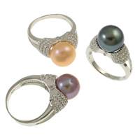 Cultured Freshwater Pearl Finger Ring, Brass, with pearl, Round, silver color plated, micro pave cubic zirconia, mixed colors, nickel, lead & cadmium free, 21x30x11mm, Size:7, 18PCs/Box, Sold By Box