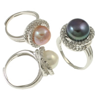 Cultured Freshwater Pearl Finger Ring, Brass, with pearl, Flat Round, silver color plated, micro pave cubic zirconia, mixed colors, nickel, lead & cadmium free, 21x31x18mm, Size:7, 36PCs/Box, Sold By Box