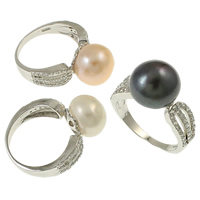 Cultured Freshwater Pearl Finger Ring, Brass, with pearl, Flat Round, silver color plated, micro pave cubic zirconia, mixed colors, nickel, lead & cadmium free, 22x28x12mm, Size:7, 36PCs/Box, Sold By Box