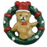 Christmas Resin Cabochon, Christmas Wreath, Christmas jewelry & flat back, multi-colored, 21x22x7mm, Sold By PC