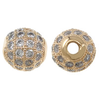 Cubic Zirconia Micro Pave Brass Beads, Round, plated, micro pave cubic zirconia, more colors for choice, nickel, lead & cadmium free, 8mm, Hole:Approx 1.5mm, Sold By PC