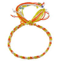 Friendship Bracelets, Wool, with Glass Seed Bead, woven pattern & two tone, 8mm, Sold Per Approx 7.5 Inch Strand