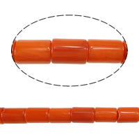 Natural Coral Beads, Tube, reddish orange, 9x6mm, Hole:Approx 0.5mm, Approx 45PCs/Strand, Sold Per Approx 16 Inch Strand