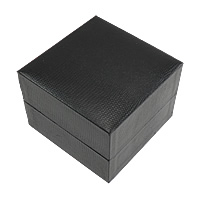 Leather Watch Box, PU, with Cardboard & Velveteen, Square, black, 100x100x73mm, Sold By PC