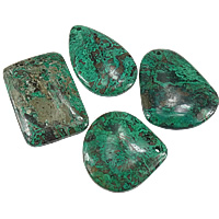 Chrysocolla Pendants, 32-38x38-47x6mm, Hole:Approx 2.5mm, Sold By PC
