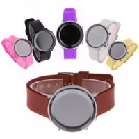 LED Light Watch, Silicone, with zinc alloy dial & Glass, plated, mixed colors, 42x42x11mm, Length:Approx 9 Inch, Sold By PC