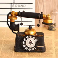 Vintage Telephone, Resin, brushwork, black, 180x85x160mm, Sold By PC