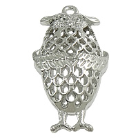 Zinc Alloy Pendant Rhinestone Setting, Owl, plated, hollow, more colors for choice, nickel, lead & cadmium free, 25x42x11mm, Hole:Approx 3mm, Inner Diameter:Approx 2mm, Sold By PC