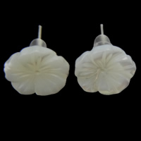 White Shell Earrings, with plastic earnut, stainless steel post pin, Flower, 11x2mm, 12Pairs/Lot, Sold By Lot