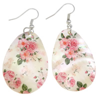 White Shell Earrings, with Iron, brass earring hook, Teardrop, printing, 25x37x2mm, 55mm, Sold By Pair
