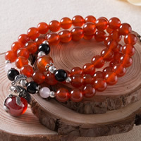 Carnelian Necklace, with Black Obsidian & Crystal & Thailand Sterling Silver & 925 Sterling Silver, Fish, 16x21x14mm, Length:Approx 20 Inch, Sold By Strand