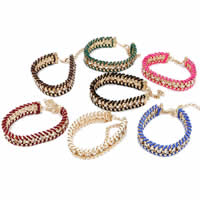 Friendship Bracelets, Zinc Alloy, with Nylon Cord, with 1.5Inch extender chain, rose gold color plated, with rhinestone, more colors for choice, nickel, lead & cadmium free, 14mm, Length:Approx 7.5 Inch, 100Strands/Lot, Sold By Lot
