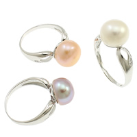 Pearl Sterling Silver Finger Ring, 925 Sterling Silver, with pearl, Flat Round, natural, more colors for choice, 10-11mm, 19.5x27x10mm, Size:7.5, Sold By PC