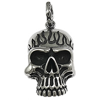 Stainless Steel Pendants, Skull, blacken, original color, 24.5x45x19mm, Hole:Approx 9mm, Sold By PC