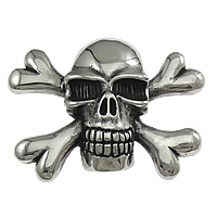 Stainless Steel Pendants, Skull, blacken, 66x46x22mm, Hole:Approx 7.5x9mm, Sold By PC