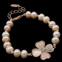 Cultured Freshwater Pearl Bracelets, with Cats Eye, brass lobster clasp, with 6cm extender chain, Four Leaf Clover, natural, with rhinestone, pink, 7-8mm, 21x26x4.5mm, Sold Per Approx 7.5 Inch Strand