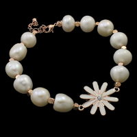 Cultured Freshwater Pearl Bracelets, brass lobster clasp, with 3.5cm extender chain, Flower, natural, enamel & with rhinestone, white, 10-11mm, 20x26x4mm, Sold Per Approx 7.5 Inch Strand