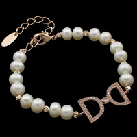 Cultured Freshwater Pearl Bracelets, brass lobster clasp, with 6cm extender chain, Letter D, natural, micro pave cubic zirconia, white, 6-7mm, 12x27x2mm, Sold Per Approx 7.5 Inch Strand