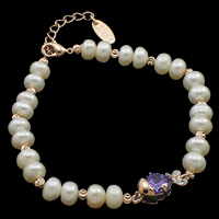 Cultured Freshwater Pearl Bracelets, brass lobster clasp, with 4cm extender chain, Fish, natural, with cubic zirconia, white, 6-7mm, 10x17x7mm, Sold Per Approx 7.5 Inch Strand