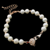 Cultured Freshwater Pearl Bracelets, brass lobster clasp, with 6cm extender chain, Fox, natural, enamel & with rhinestone, white, 8-9mm, 12x29x9mm, Sold Per Approx 7.5 Inch Strand