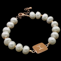 Cultured Freshwater Pearl Bracelets, brass lobster clasp, with 3.5cm extender chain, Button, natural, enamel, white, 7-8mm, 12x18x4mm, Sold Per Approx 7.5 Inch Strand