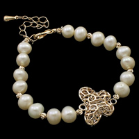 Cultured Freshwater Pearl Bracelets, brass lobster clasp, with 6cm extender chain, Butterfly, natural, hollow, white, 7-8mm, 19.5x18.5x16.5mm, Sold Per Approx 7.5 Inch Strand