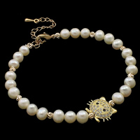 Cultured Freshwater Pearl Bracelets, brass lobster clasp, with 5cm extender chain, Cat, natural, micro pave cubic zirconia, white, 5-6mm, 14x11x5mm, Sold Per Approx 7.5 Inch Strand