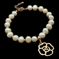 Cultured Freshwater Pearl Bracelets, brass lobster clasp, with 3.5cm extender chain, Flower, natural, white, 7-8mm, 17x26x5mm, Sold Per Approx 7.5 Inch Strand