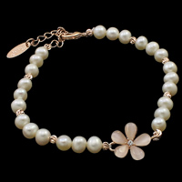 Cultured Freshwater Pearl Bracelets, with Cats Eye, brass lobster clasp, with 4.5cm extender chain, Flower, natural, with rhinestone, white, 5-6mm, 13x18x4mm, Sold Per Approx 7.5 Inch Strand