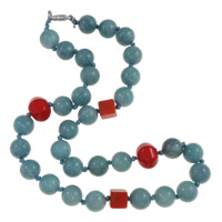 Dyed Jade Necklace, zinc alloy lobster clasp, 10mm, Sold Per Approx 16.5 Inch Strand