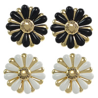 Resin Zinc Alloy Earring, with rubber earnut & Resin, Flower, gold color plated, more colors for choice, nickel, lead & cadmium free, 23x23x6.5mm, Sold By Pair