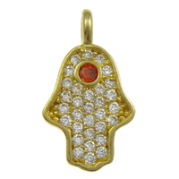 Cubic Zirconia Micro Pave Brass Pendant, Hamsa, plated, Customized & micro pave cubic zirconia, more colors for choice, nickel, lead & cadmium free, 8x14.5x1.5mm, Hole:Approx 2mm, Sold By PC
