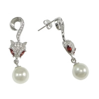 Cubic Zirconia Micro Pave Sterling Silver Earring, 925 Sterling Silver, Fox, micro pave cubic zirconia & with glass pearl, Sold By Pair