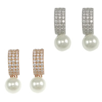 Cubic Zirconia Micro Pave Sterling Silver Earring, 925 Sterling Silver, Round, plated, micro pave cubic zirconia & with glass pearl, more colors for choice, Sold By Pair