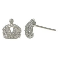Cubic Zirconia Micro Pave Sterling Silver Earring, 925 Sterling Silver, Crown, micro pave cubic zirconia, 9x9mm, Sold By Pair