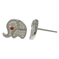 Cubic Zirconia Micro Pave Sterling Silver Earring, 925 Sterling Silver, Elephant, micro pave cubic zirconia, 11.5x9mm, Sold By Pair