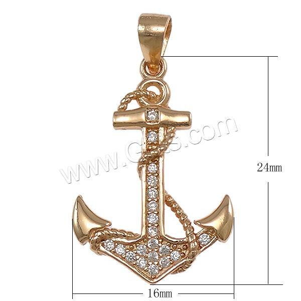 Cubic Zirconia Micro Pave Sterling Silver Pendant, 925 Sterling Silver, Anchor, plated, micro pave cubic zirconia, more colors for choice, 16x24x2mm, Hole:Approx 3x4mm, Sold By PC