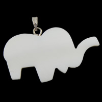 Natural Freshwater Shell Pendants, with brass bail, Elephant, white, 38x26x3mm, Hole:Approx 5x2mm, Sold By PC