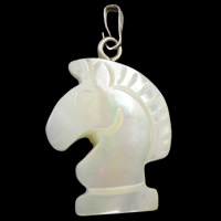 Natural Freshwater Shell Pendants, with brass bail, Horse, white, 17x29x5mm, Hole:Approx 5x2mm, Sold By PC